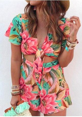 Floral Tie Romper without Necklace