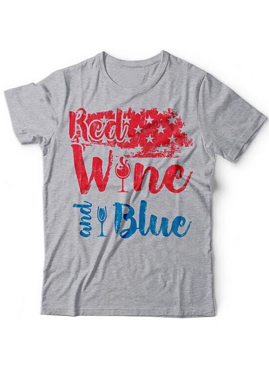 00a903895863 Red Wine And Blue T-Shirt - Fairyseason