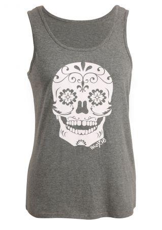Floral Skull Printed O-Neck Tank