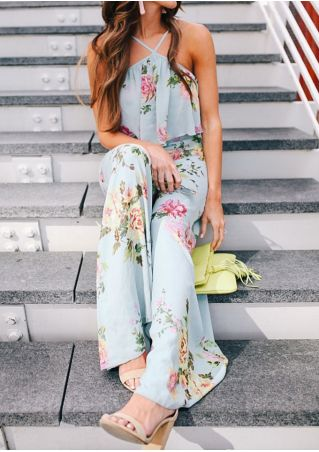 Floral Flouncing Sleeveless Jumpsuit