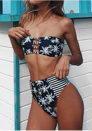Coconut Tree Striped Splicing Bikini Set