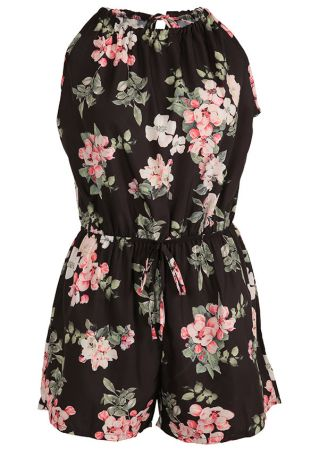 Floral Knot Sleeveless Hollow Out Romper