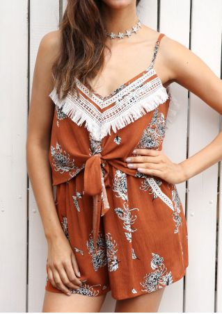 Floral Tassel Splicing Romper without Necklace
