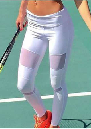 Solid Mesh Splicing Sport Pants