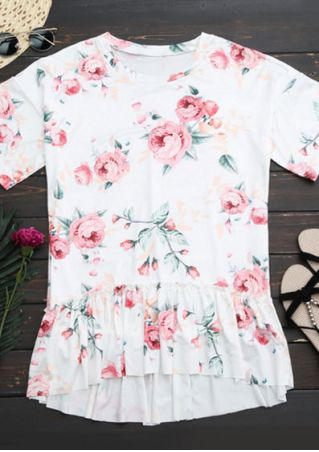 Floral Ruffled Short Sleeve Blouse