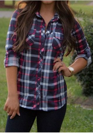 Plaid Pocket Button Tab-Sleeve Shirt