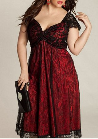 Lace Splicing V-Neck Casual Dress
