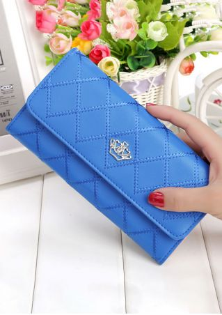Solid Crown Clutch Wallet