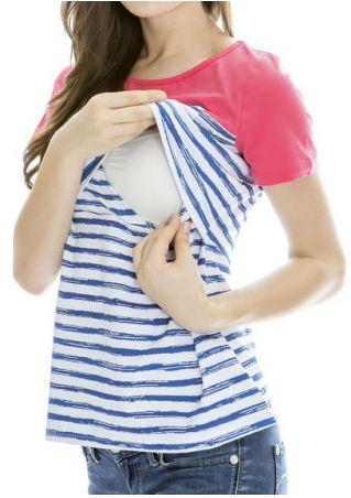Striped Splicing Pocket Lactation T-Shirt