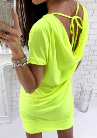 Solid Pocket Bodycon Dress without Necklace