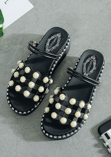 Image of Beading Hollow Out Wedge Sandals
