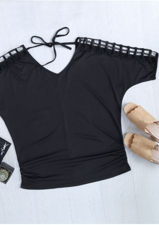 Solid Hollow Out Tie Blouse