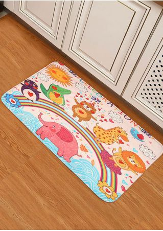 Cartoon Figure Elephant Kitchen Floor Rug