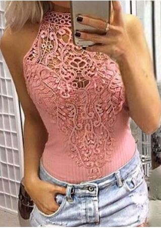Solid Lace Splicing Hollow Out Tank