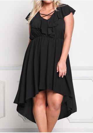 Solid Criss-Cross Ruffled Asymmetric Casual Dress