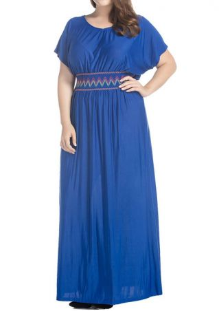 Batwing Sleeve O-Neck Maxi Dress Batwing
