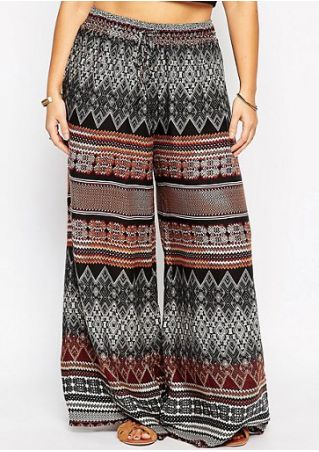Printed Drawstring Wide Leg Pants