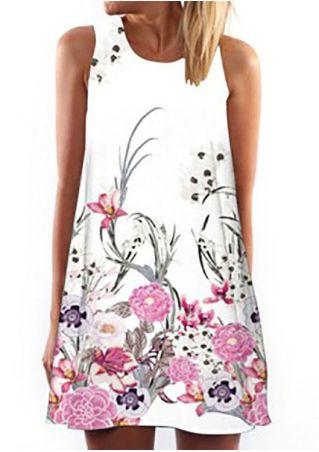 Floral O-Neck Sleeveless Mini Dress