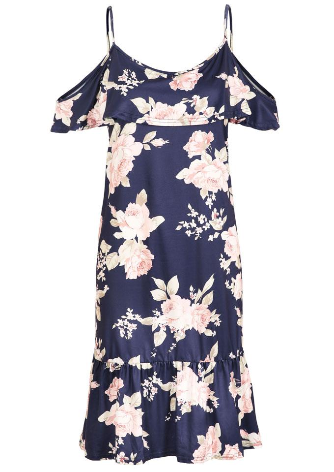 Floral Cold Shoulder Flouncing Mini Dress 33274