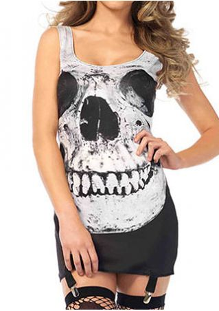 Skull Printed O-Neck Sleeveless Mini Dress