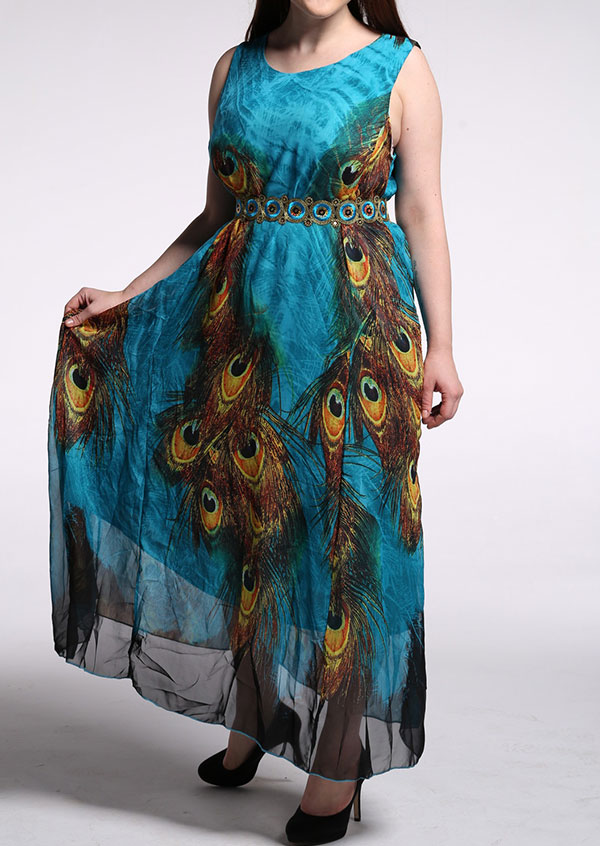 Image of Peacock Feather Printed Maxi Dress