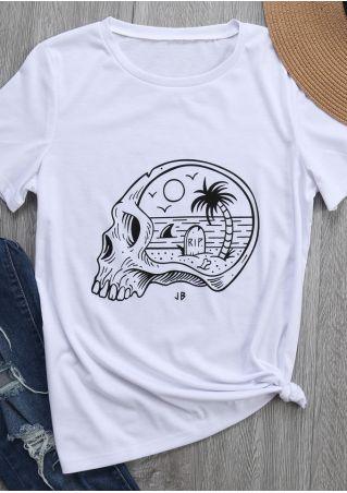 Skull Beach Printed O-Neck T-Shirt