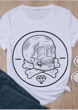 Skull Diamond Printed O-Neck T-Shirt