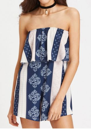 Printed Strapless Layered Romper without Necklace