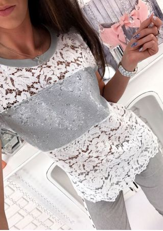 Lace Floral Sequined T-Shirt without Necklace