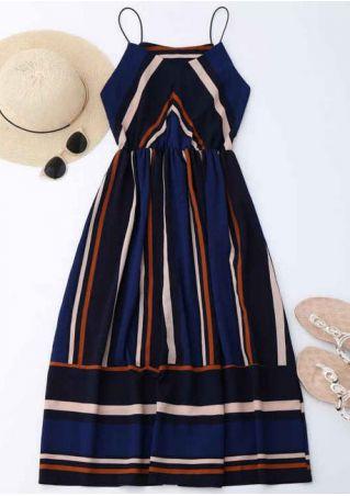 Striped Spaghetti Strap Casual Dress