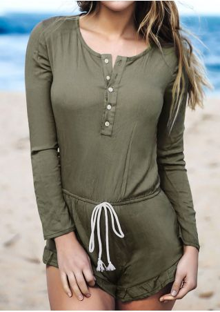 Solid Button Tie Long Sleeve Romper