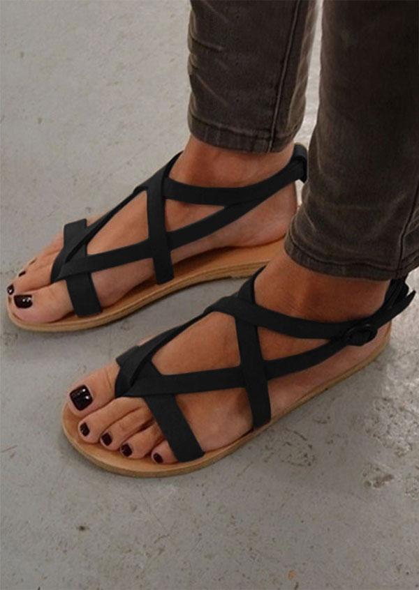2094d861a0e2 Solid Cross Buckle Strap Flat Sandals - Fairyseason