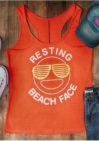 Resting Beach Face Sunglasses Tank