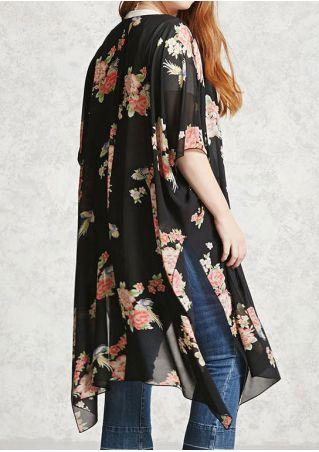 Floral Slit Cardigan without Necklace