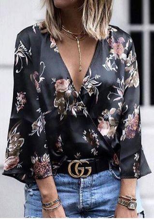 Floral Deep V-Neck Blouse without Necklace or Belt