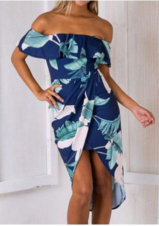 Leaf Flouncing Asymmetric Off Shoulder Bodycon Dress