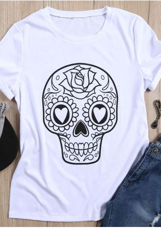 Floral Skull Printed O-Neck T-Shirt