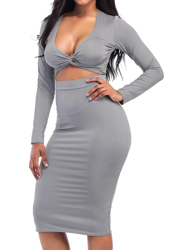 Image of Solid Twist Long Sleeve Two-Piece Dress