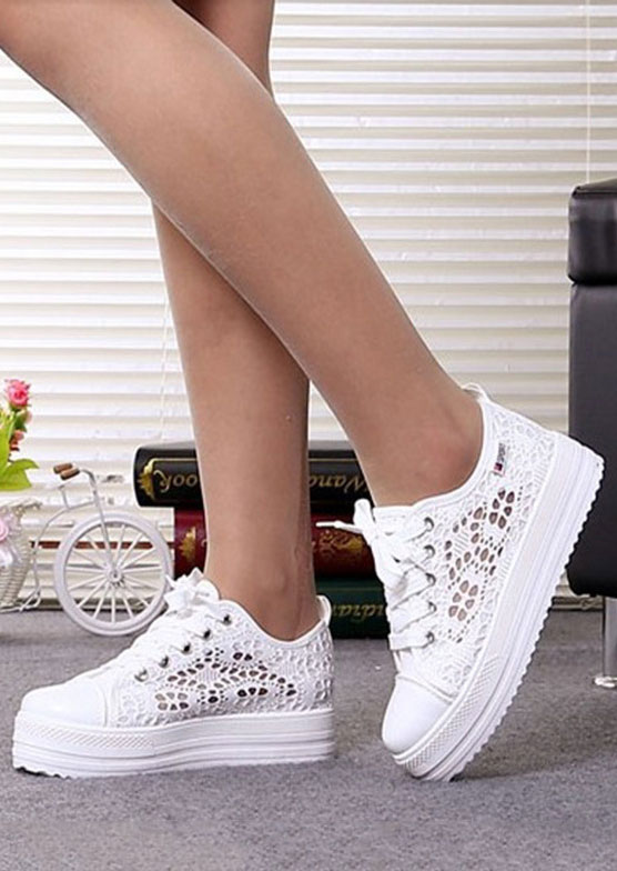 Image of Hollow Out Lace Up Chunky Sole Sneakers