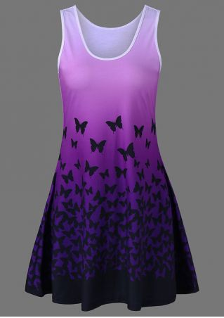 Butterfly O-Neck Mini Dress