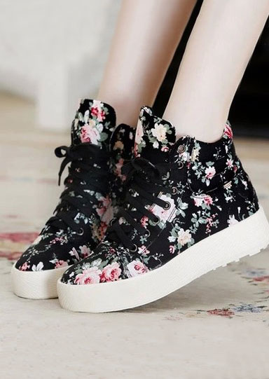 Image of Floral Lace Up Chunky Sole Sneakers