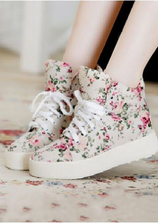 Floral Lace Up Chunky Sole Sneakers