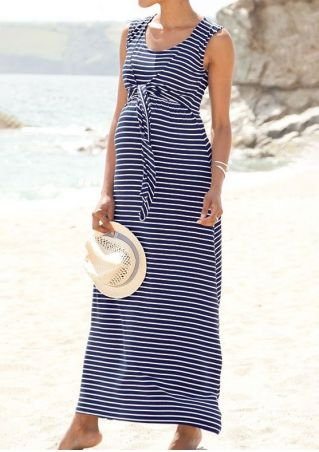 Striped Lactation Tie Maxi Dress