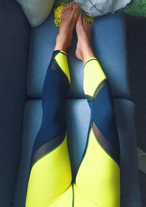 Image of Color Block Mesh Splicing Elastic Waist Sport Pants