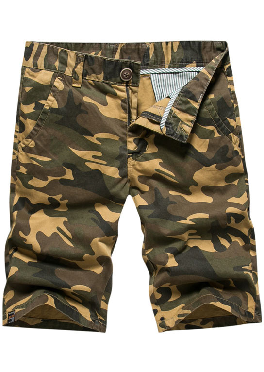 c40ec58236 Camouflage Printed Button Pocket Shorts - Fairyseason