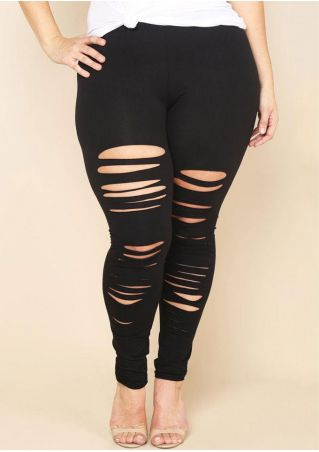 Solid Hollow Out Elastic Waist Leggings