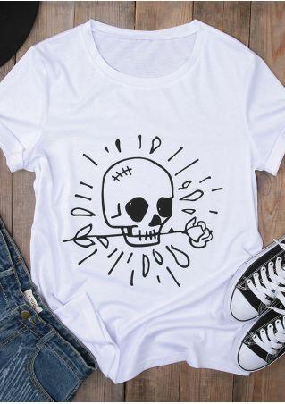 Skull O-Neck Short Sleeve T-Shirt