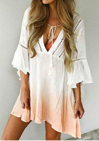 Gradient Color Hollow Out Flare Sleeve Tie Mini Dress