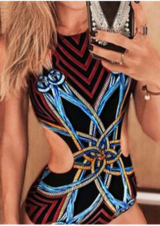 Printed Hollow Out Halter Sexy Swimsuit