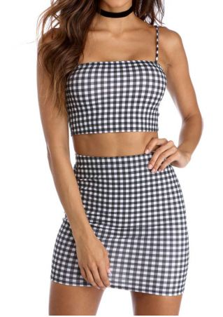 Plaid Spaghetti Strap Two-Piece Dress without Necklace